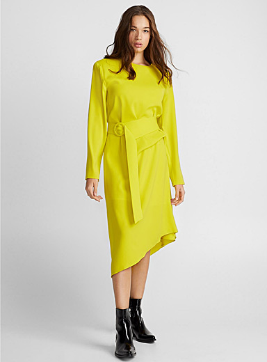 Bright neon belted dress