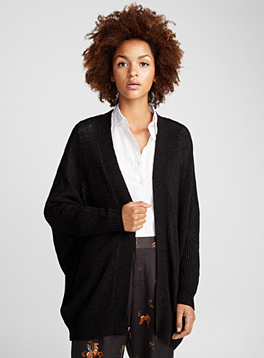 Batwing-sleeve long cardigan