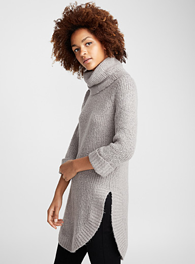Rounded hem cowl-neck sweater