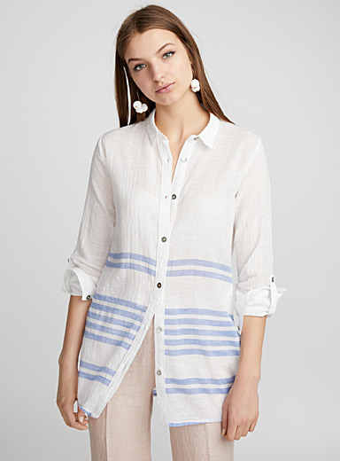 Block stripe long shirt