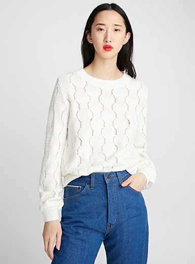 Openwork hexagon sweater