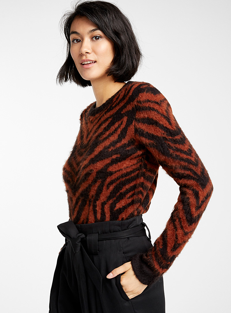 Ultra-soft tiger sweater - Sweaters - Patterned Brown