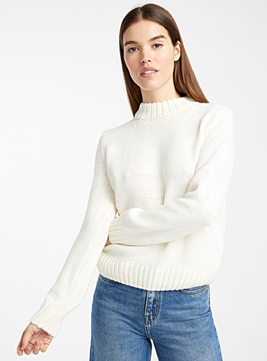 B. young Ivory White Chain-rib mock neck sweater for women