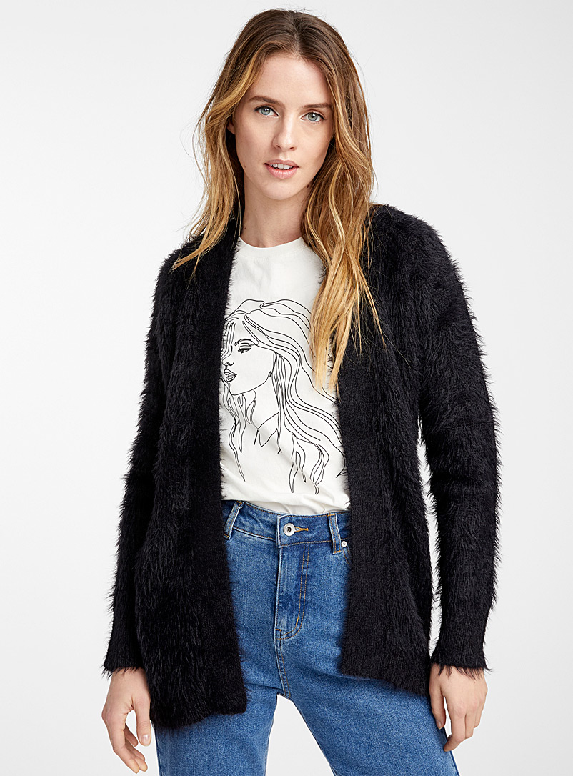 Fuzzy chenille cardigan - Sweaters - Black