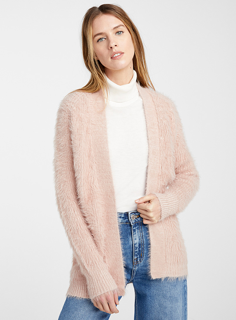 Fuzzy chenille cardigan - Sweaters - Sand