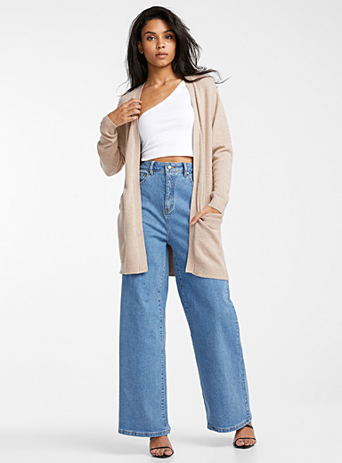 Long, open slit-pocket cardigan