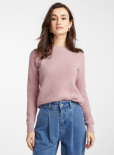 B. young Dusky Pink Waffled sweater for women