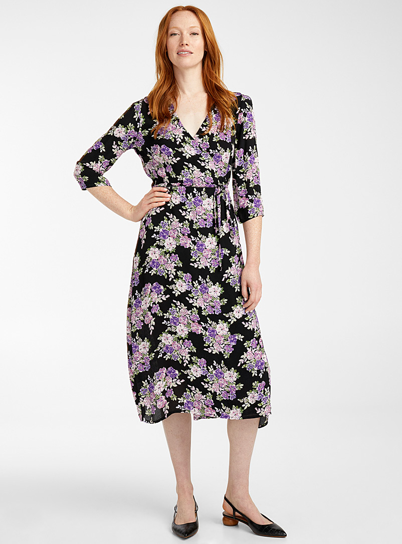 B. young Patterned Black Amethyst garden wrap dress for women