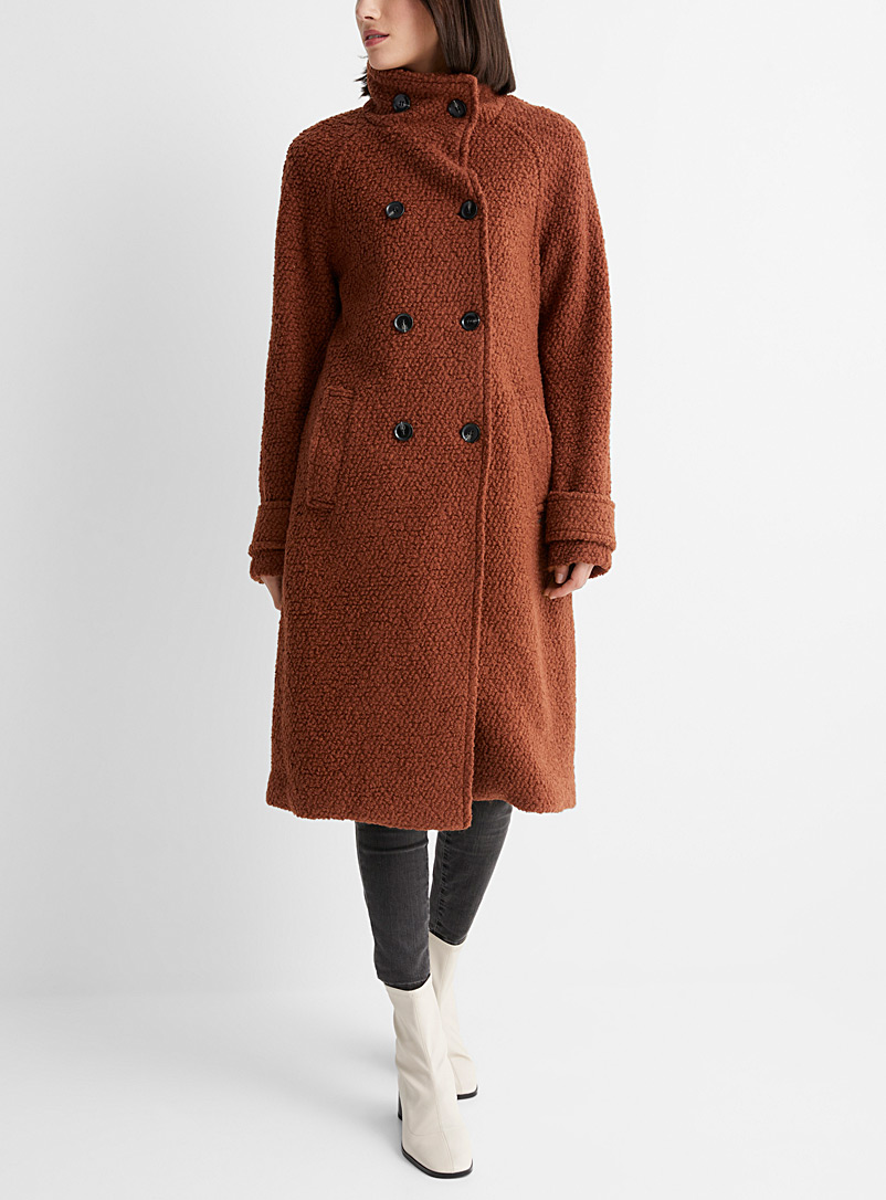 Bouclé wool mock-neck coat