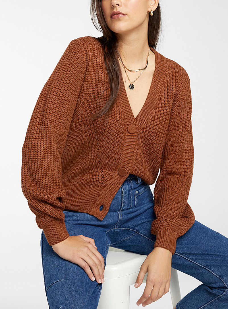B. young Light Brown Loose traced knit cardigan for women