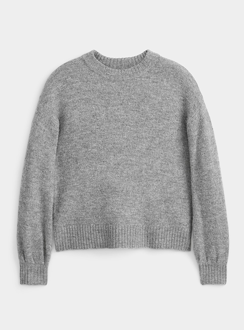 B. young Grey Balloon-sleeve grey-sky sweater for women