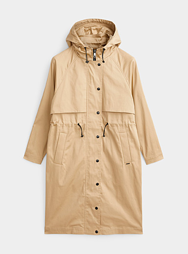Drastring-waist hooded trench coat