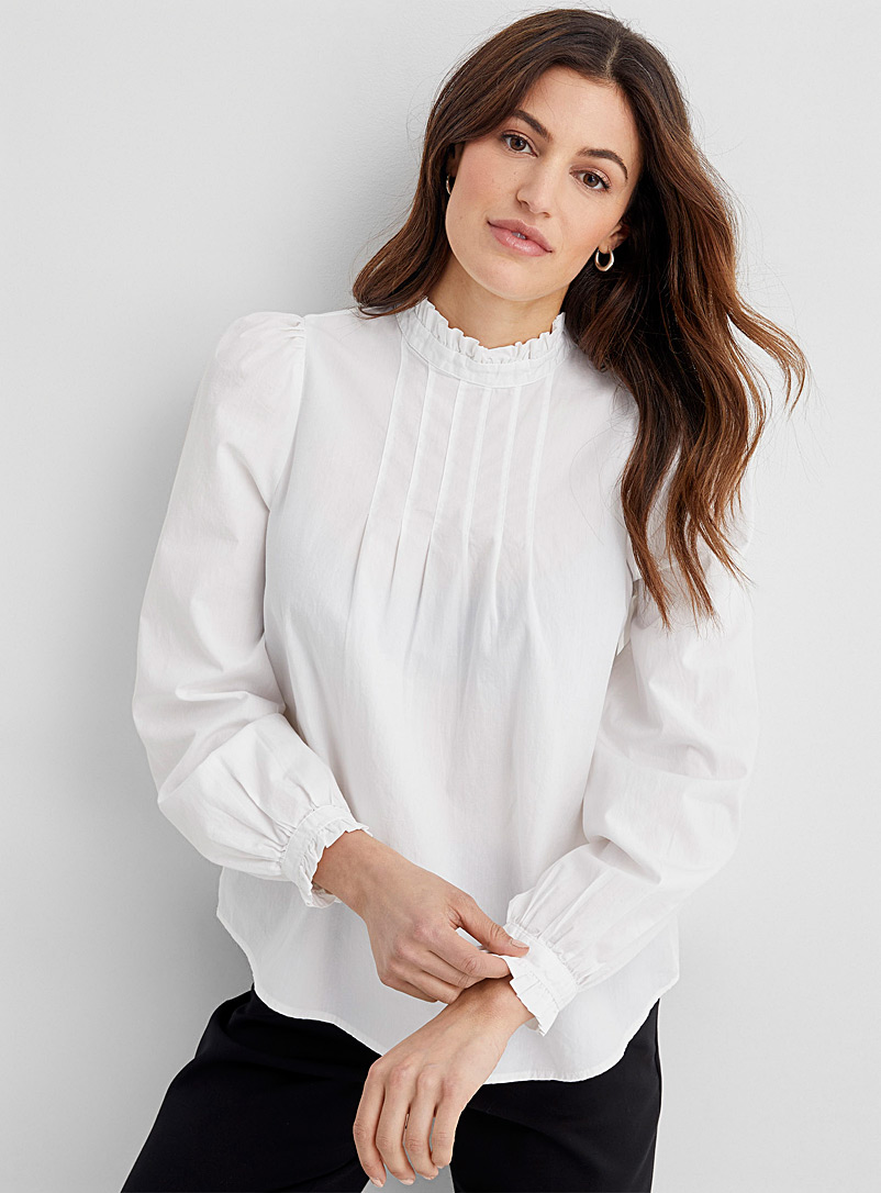 Contemporaine White Frilly pleated bib blouse for women