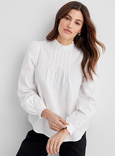 Frilly pleated bib blouse