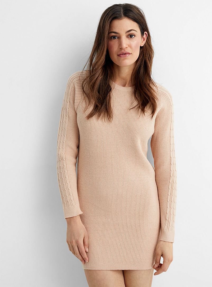 Contemporaine Cream Beige Cable-sleeve ribbed dress for women