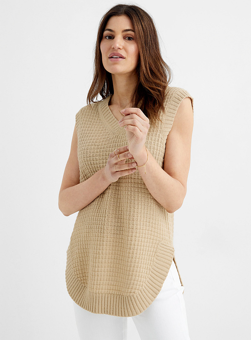 Contemporaine Sand Basketweave loose vest for women