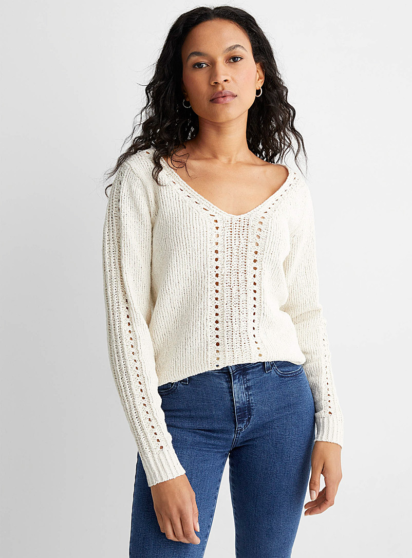 Contemporaine Sand Openwork ribbon knit sweater for women