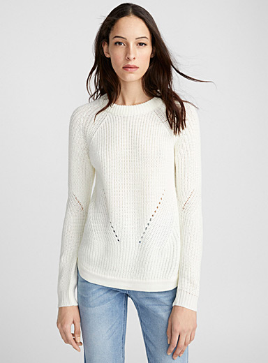 Ribbed openwork-line sweater
