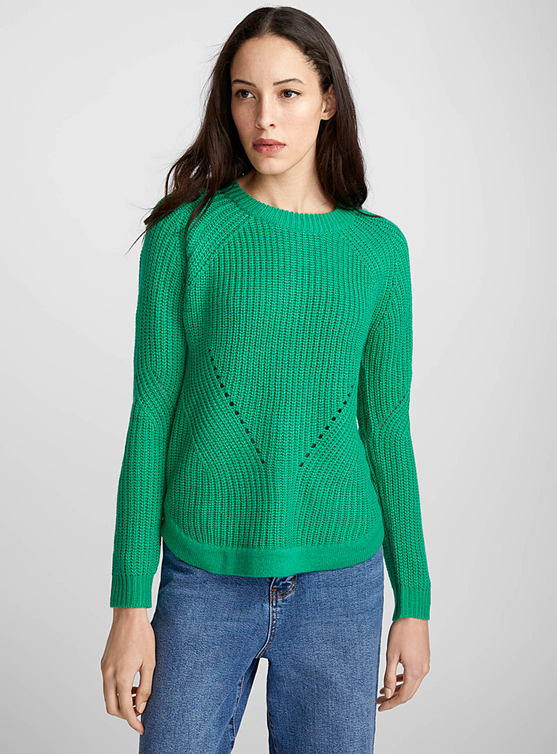Ribbed openwork-line sweater - Sweaters - Green