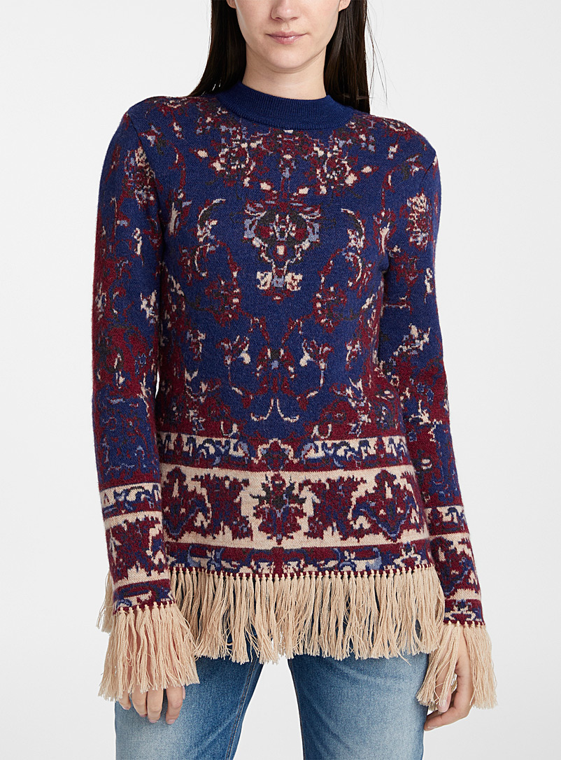 Paco Rabanne Patterned Blue Fringed tapestry sweater for women