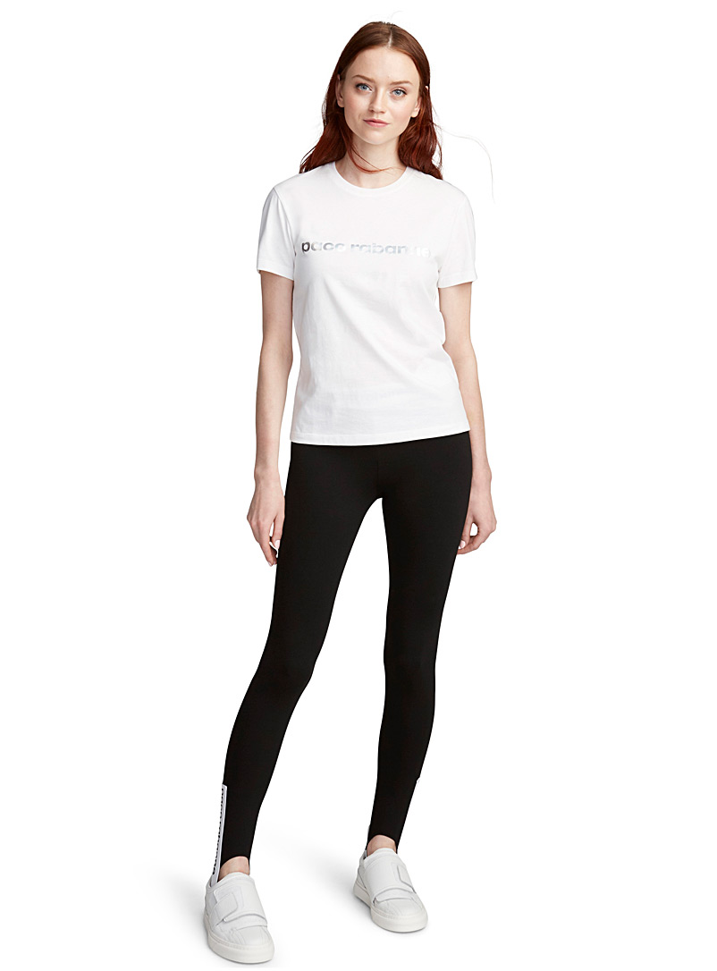 Paco Rabanne Black Logo tapered legging for women