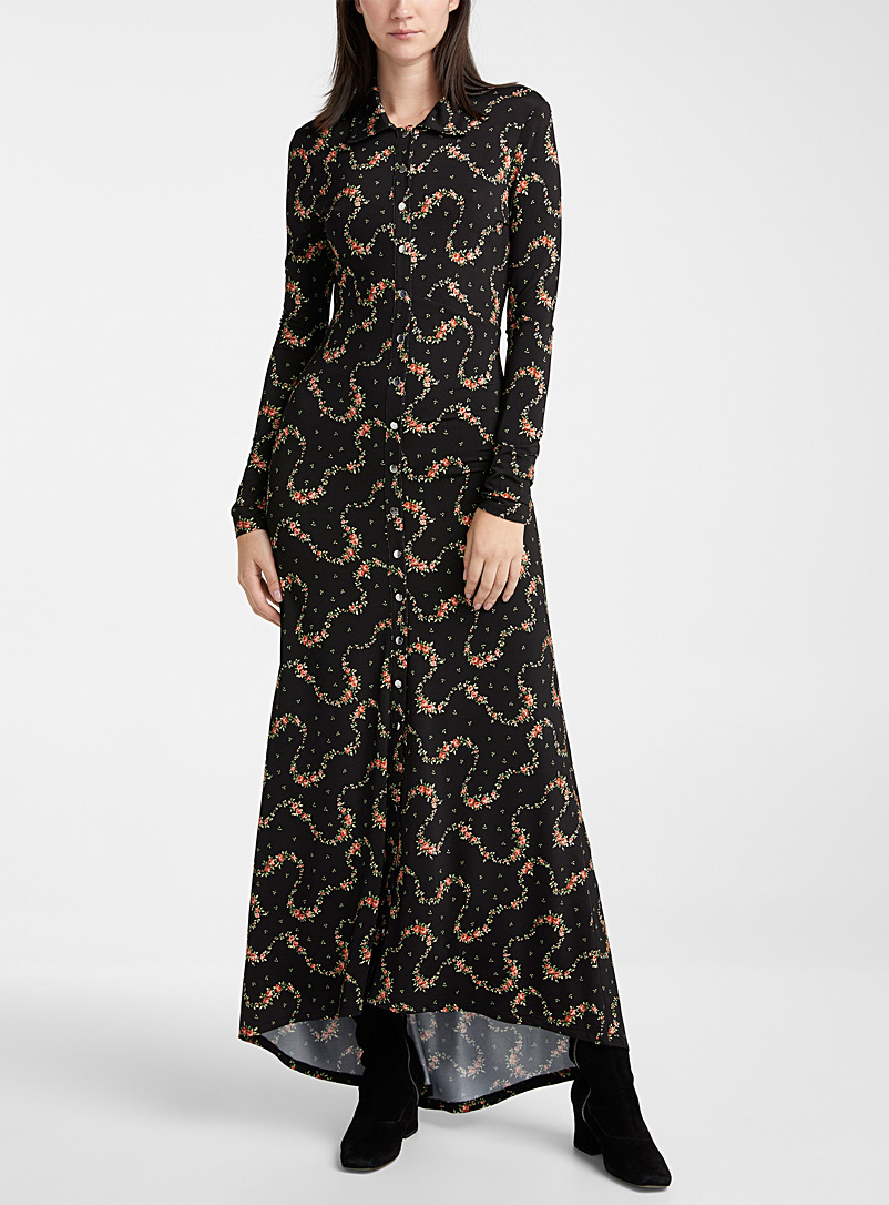 Paco Rabanne Patterned Black Floral garland shirtdress for women