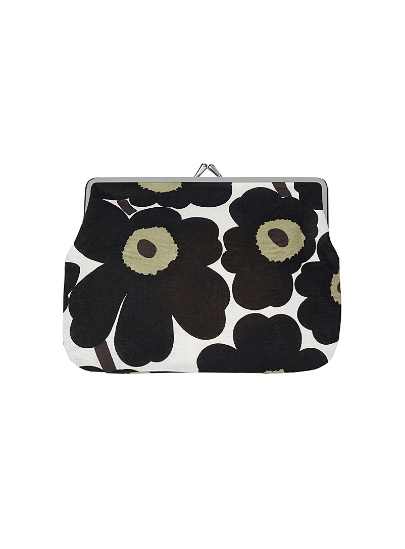 Marimekko Kioski Black and White Puolikas Kukkaro Mini Unikko bag for women