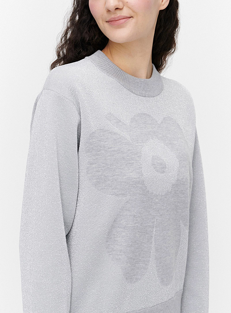 Marimekko Silver Lumikukka Unikko shimmery sweater for women