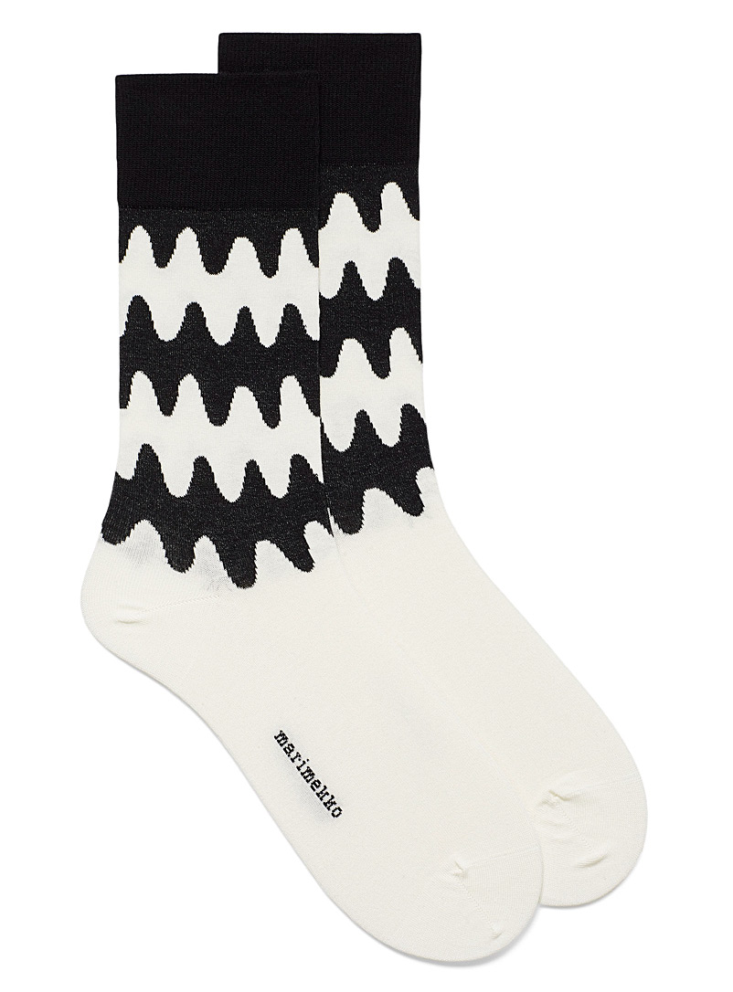Marimekko Black and White Kohina Lokki socks Men for women