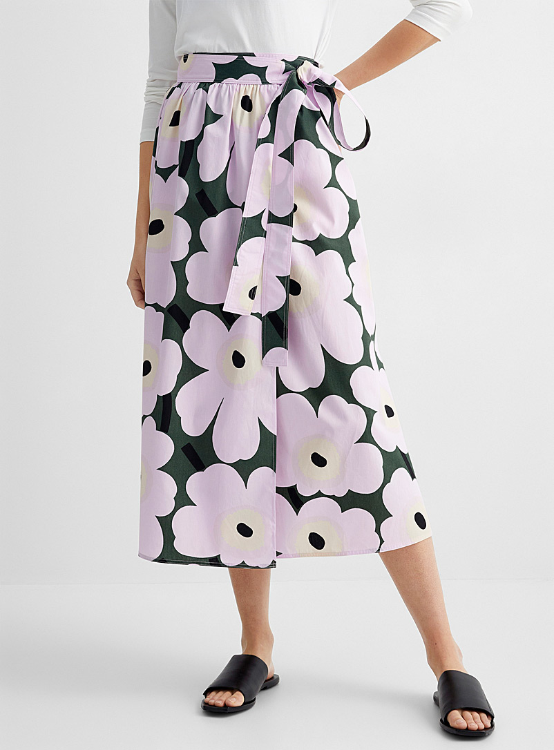Marimekko Mossy Green Surista Pieni Unikko 2 wrap skirt for women