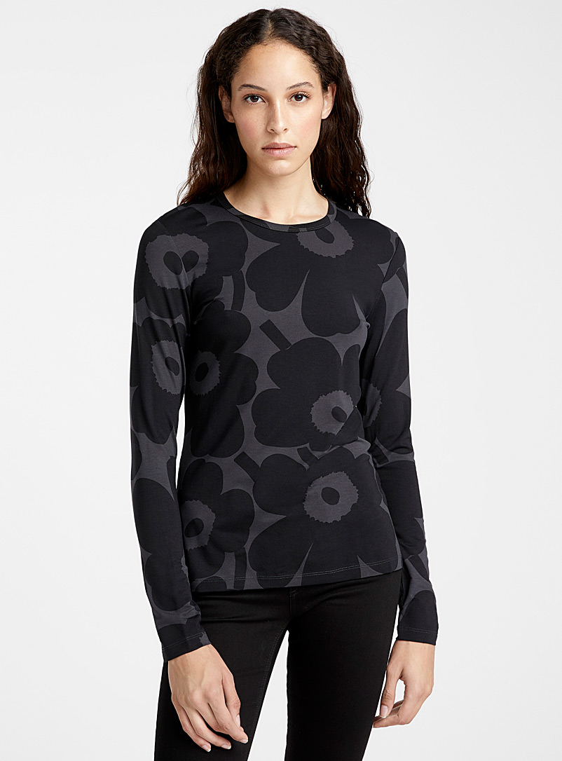 Marimekko Black Hiili Pieni Unikko top for women