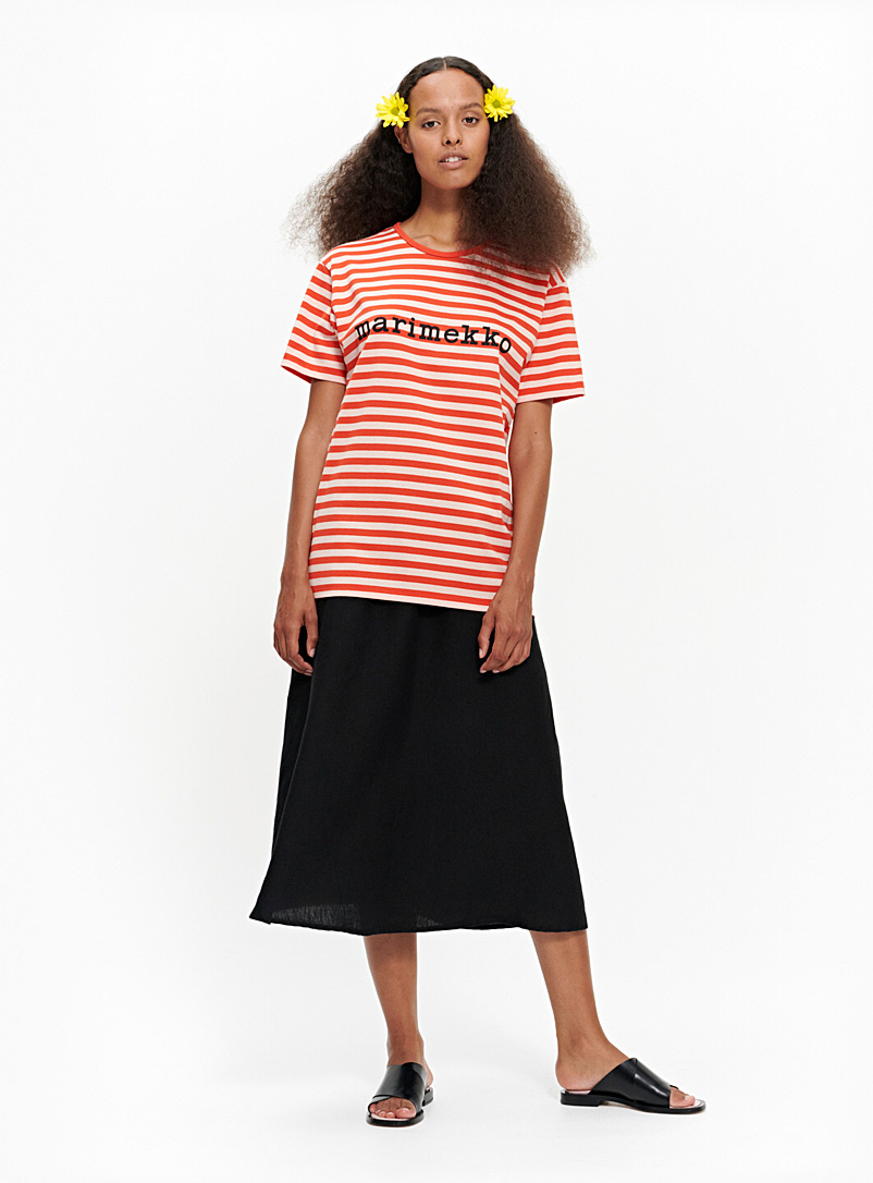 Marimekko Orange LyhythihaTasaraita t-shirt for women