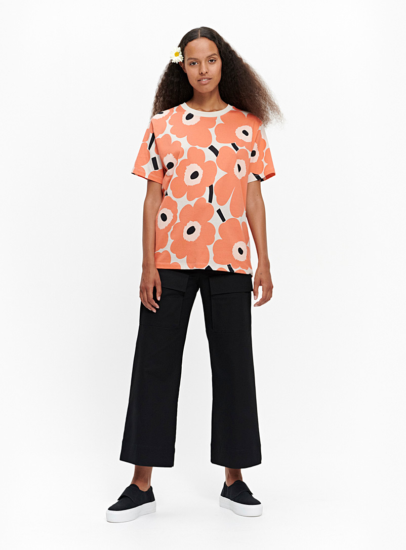 Marimekko Kioski Patterned Orange Hiekka Pieni Unikko T-shirt for women