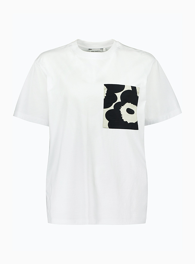 Marimekko Kioski Patterned Grey Hiekka T-shirt for women
