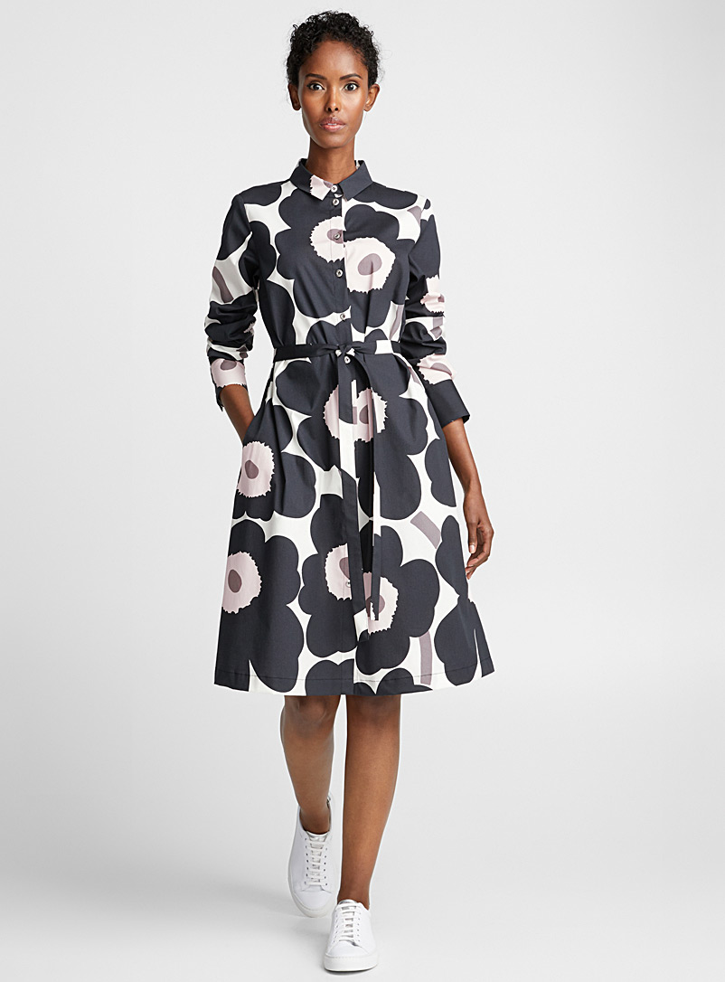 Marimekko Black and White Trina Unikko shirtdress for women