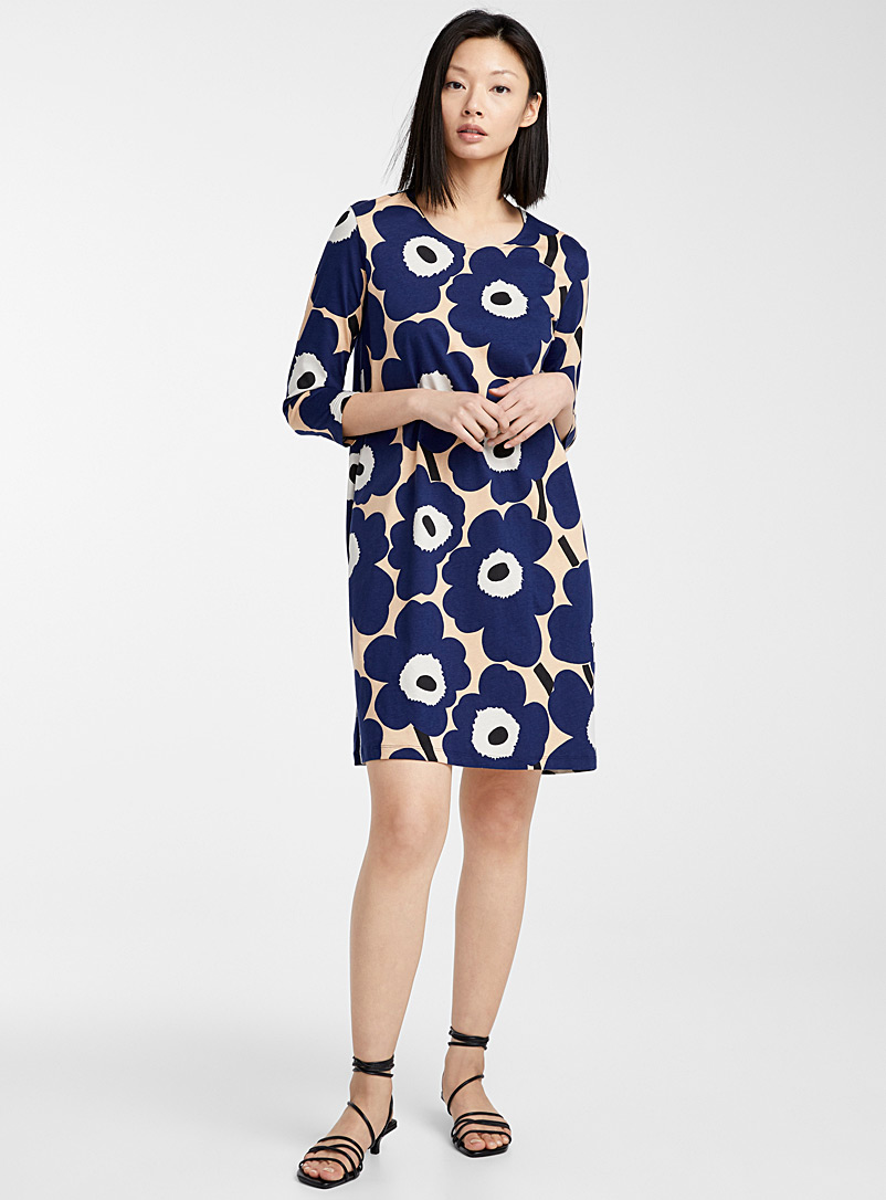Marimekko Cream Beige Blue Aretta Pieni Unikko dress for women