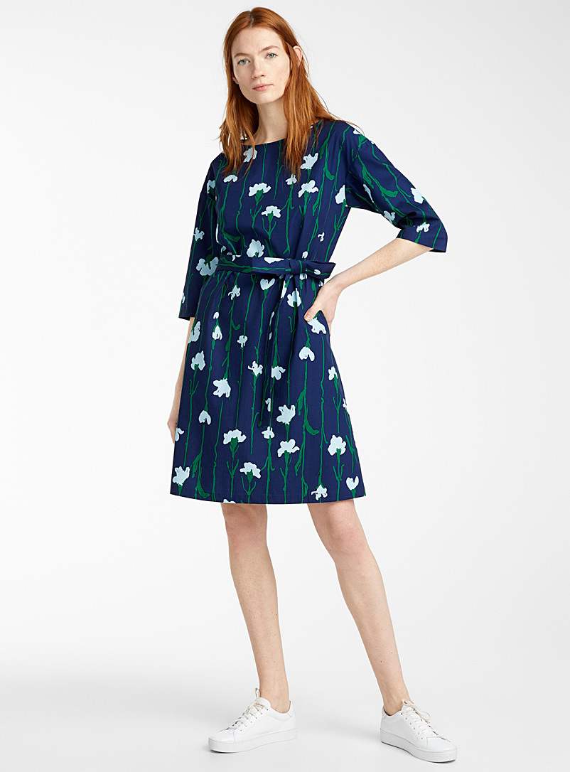 Marimekko Patterned Blue Tarika Viivakukka dress for women