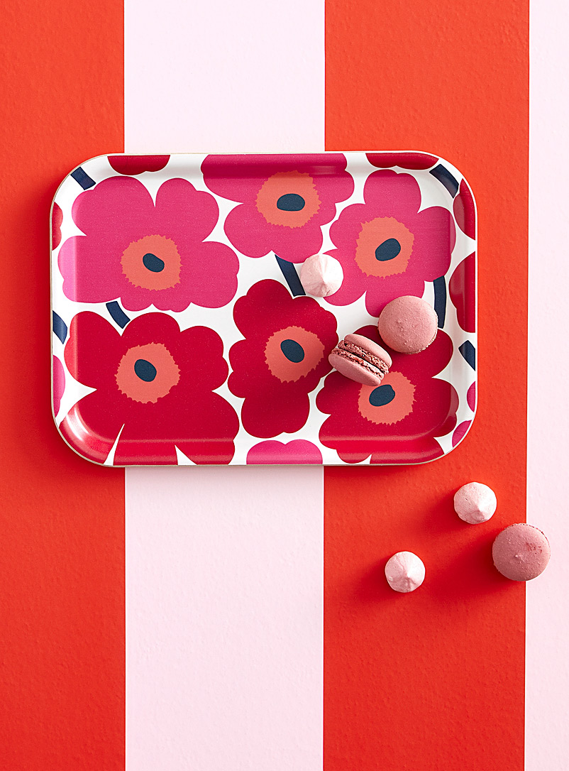 Marimekko White Unikko small red tray for women
