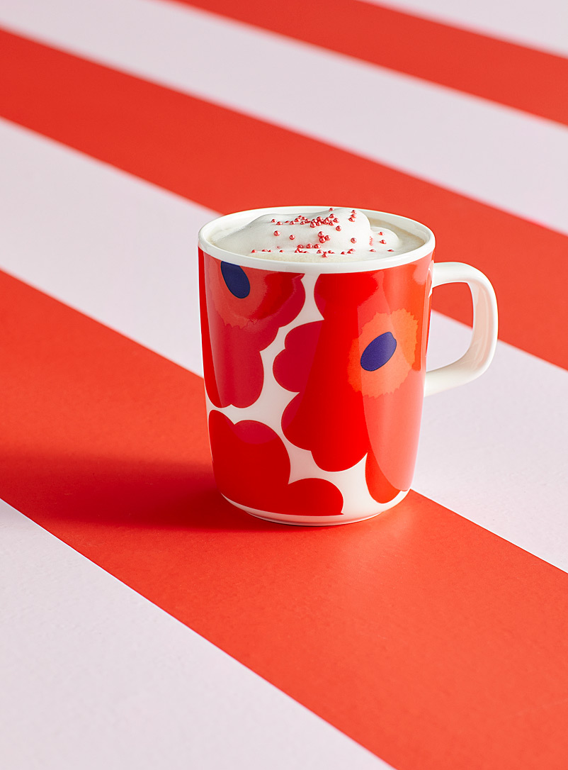 Marimekko Red Oiva Unikko red mug for women