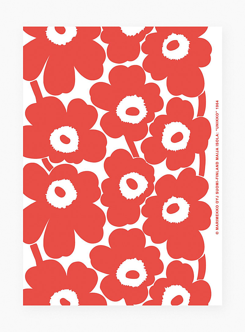 Marimekko Red Pieni Unikko art poster for women