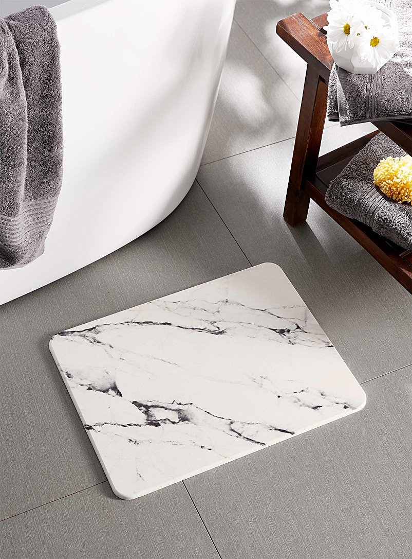 Simons Maison Patterned White Marbled diatomite bath mat  35 x 45 cm