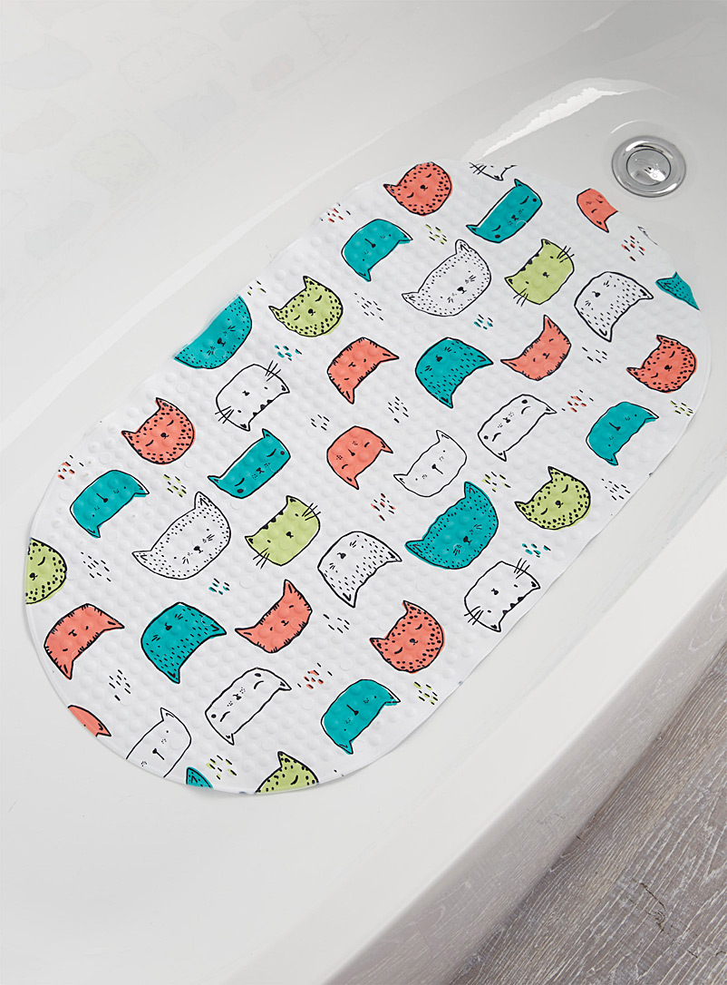 Simons Maison Patterned White Purring kittens tub mat  39 x 69 cm