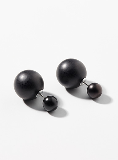 Matte beads double-sided earrings