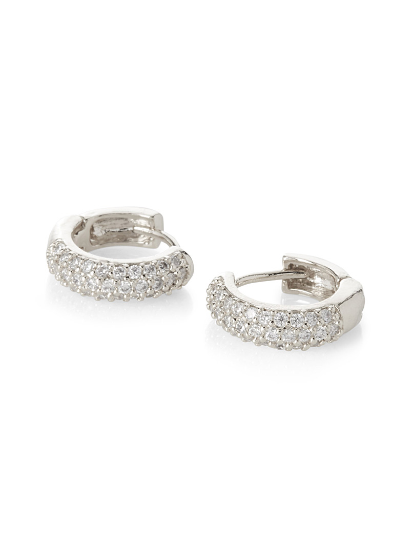 Glittering hoop earrings - Earrings - Silver