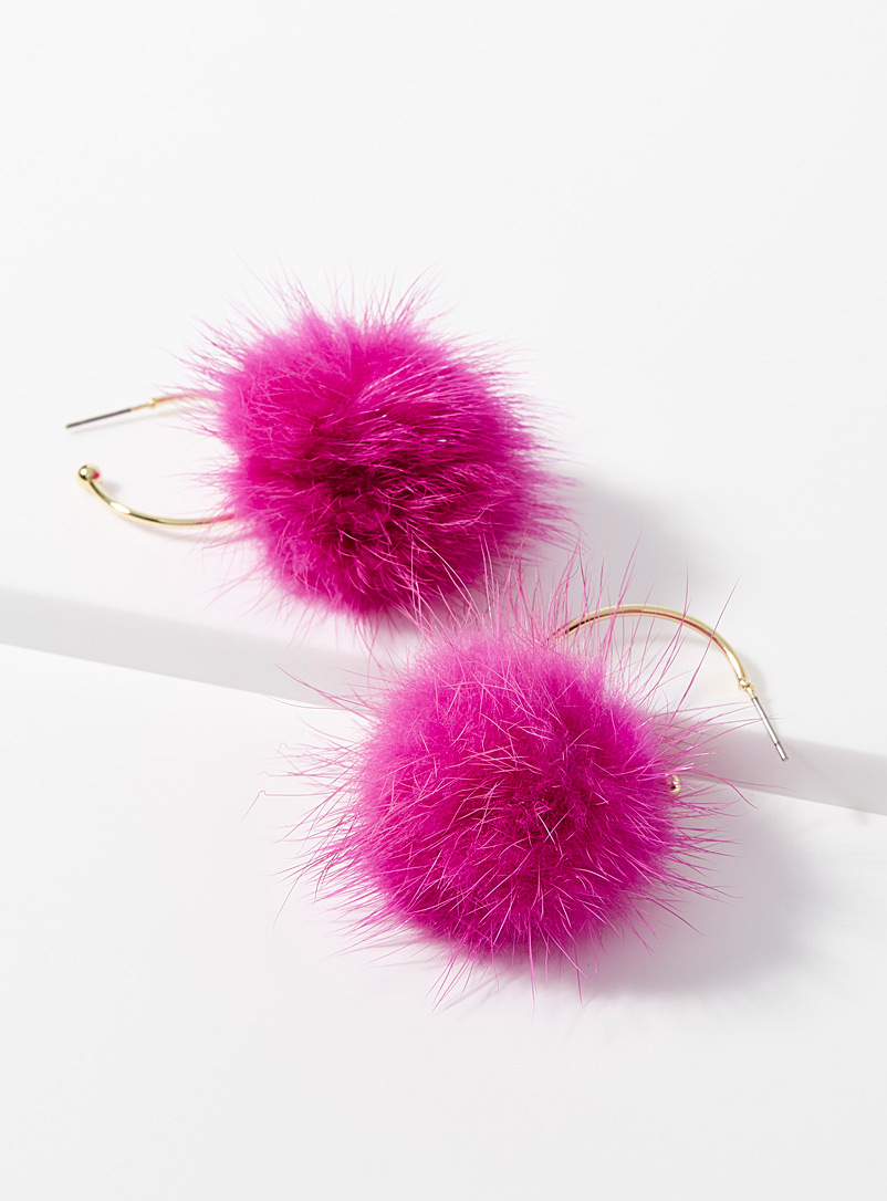 Ruffled pompom hoops - Earrings - Pink