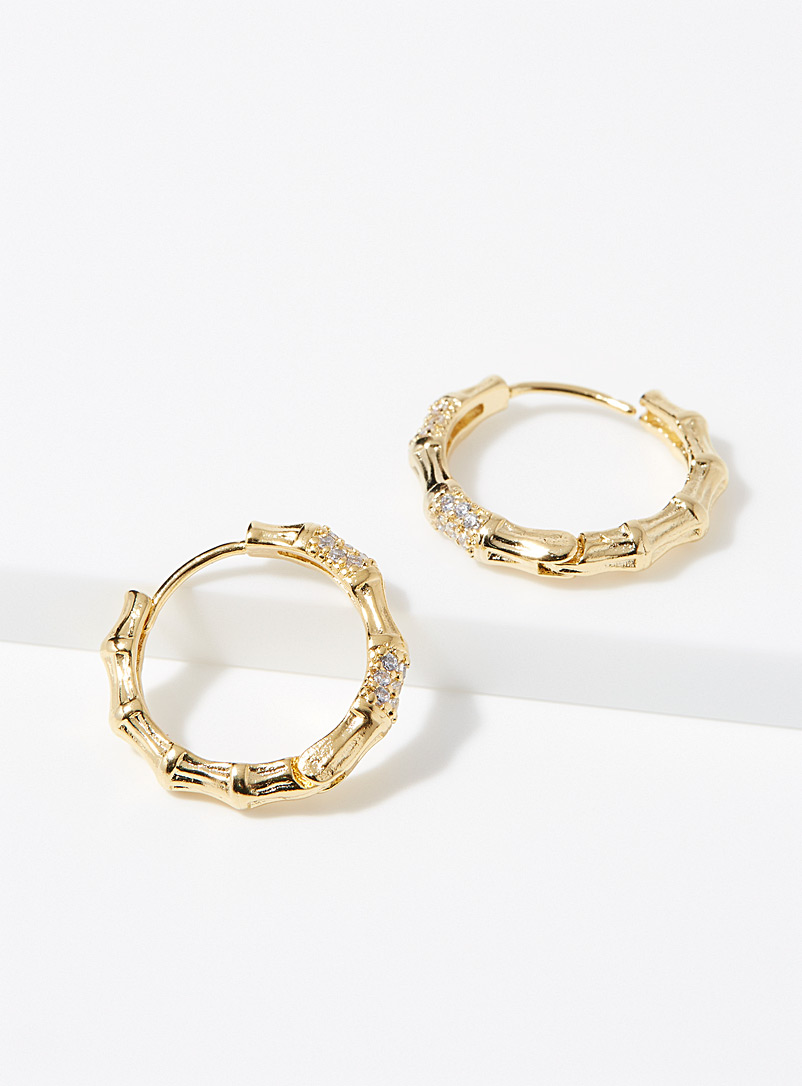 Simons Gold Bamboo and crystal hoops for women