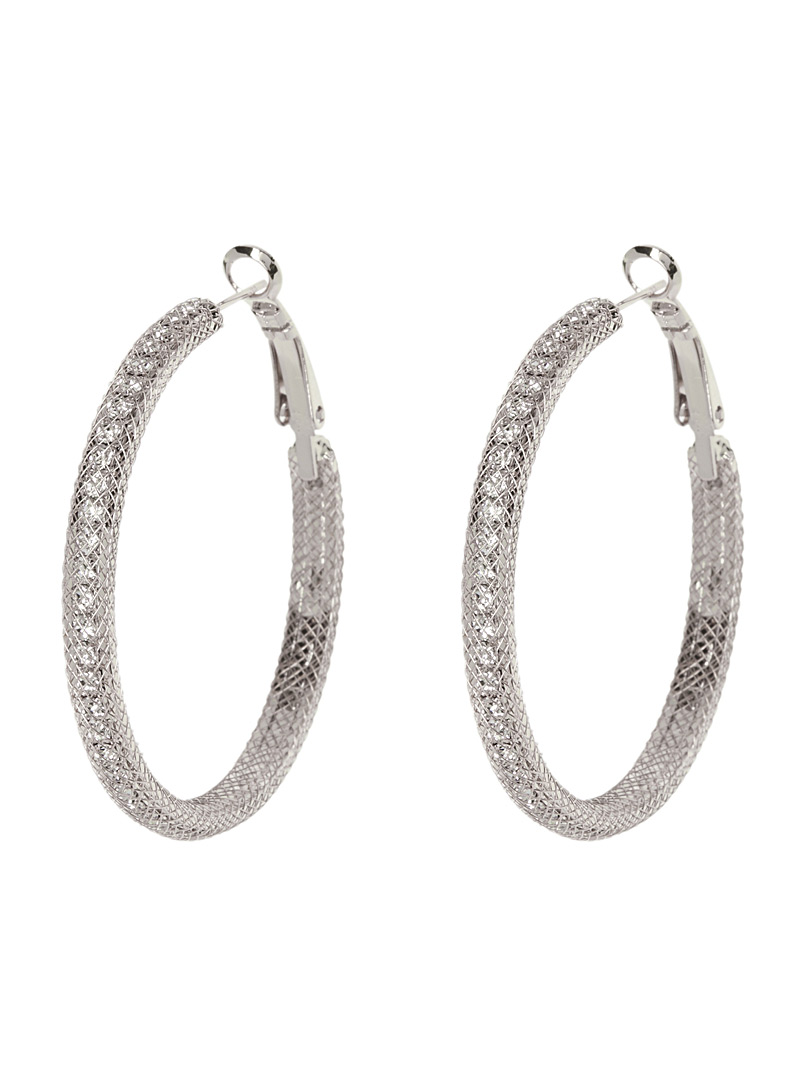 Crystal trap hoops - Earrings - Silver