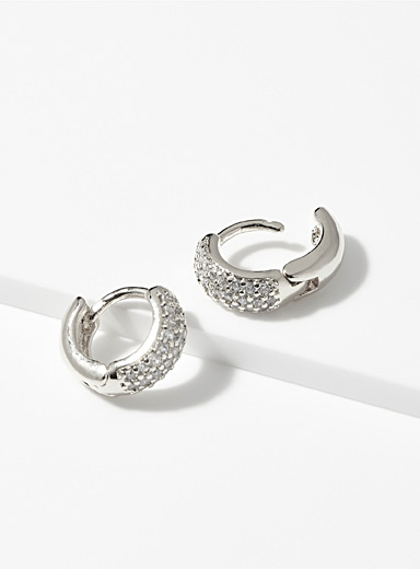 Crystal pavé mini hoops