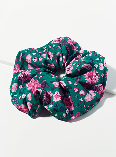 Simons Patterned Green Oversized floral tapestry scrunchie for women