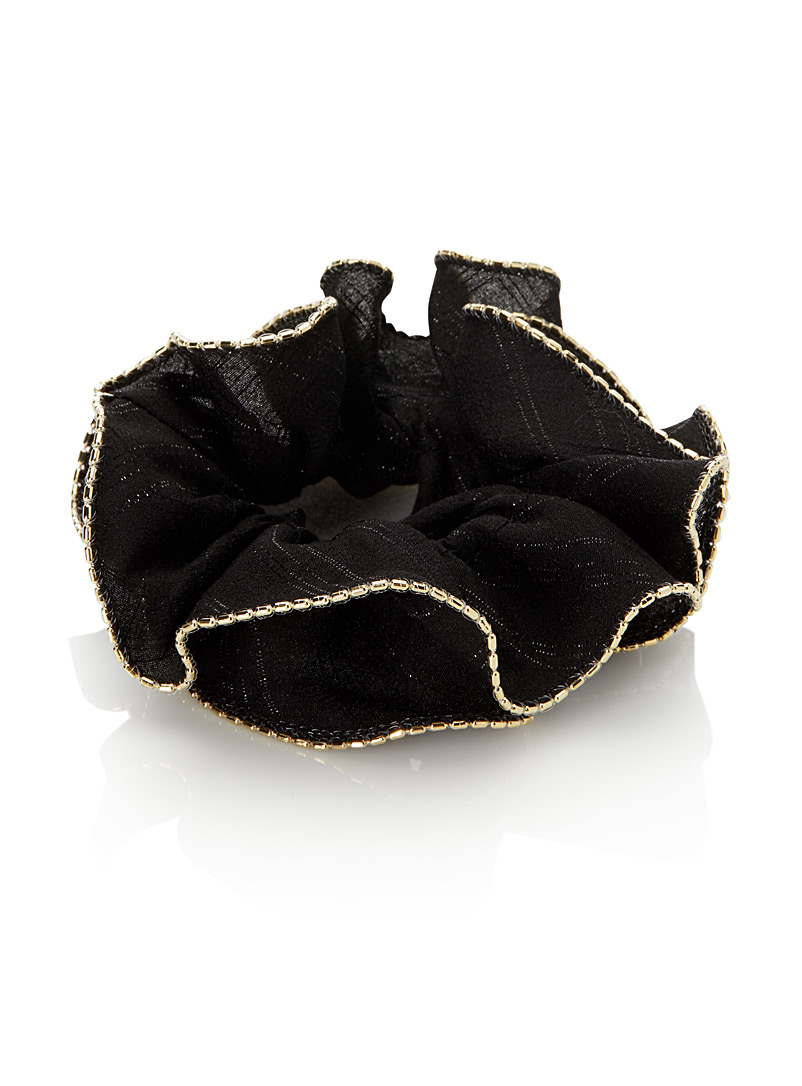 Simons Black Voile and golden beads scrunchie for women
